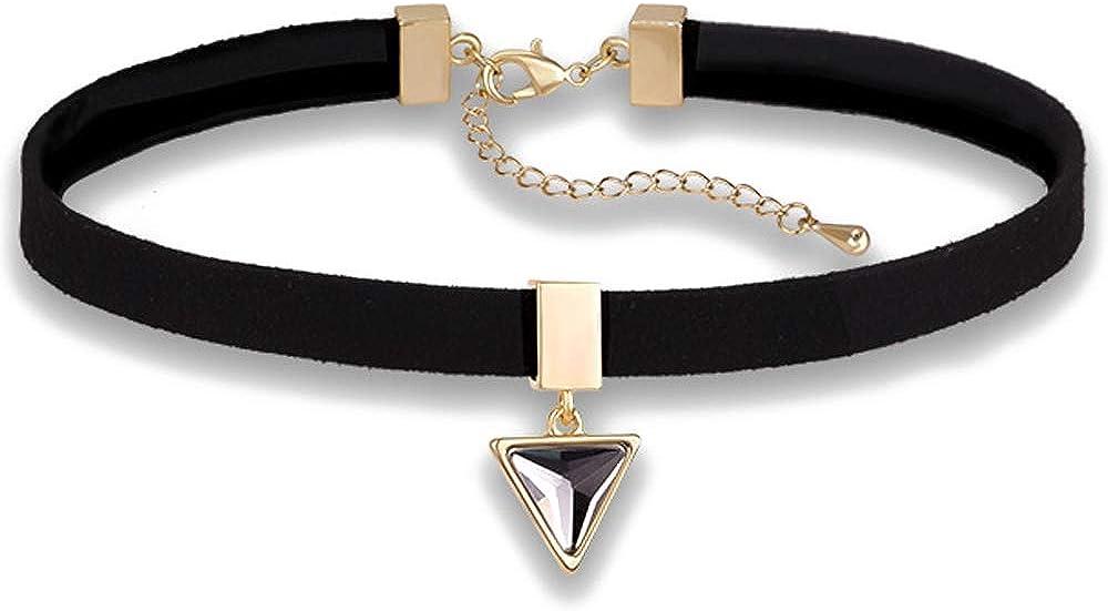 Leather Choker Collar, O-Ring Heart Shape Gothic Punk Rock PU Leather Choker Collar Necklace For Women Girls