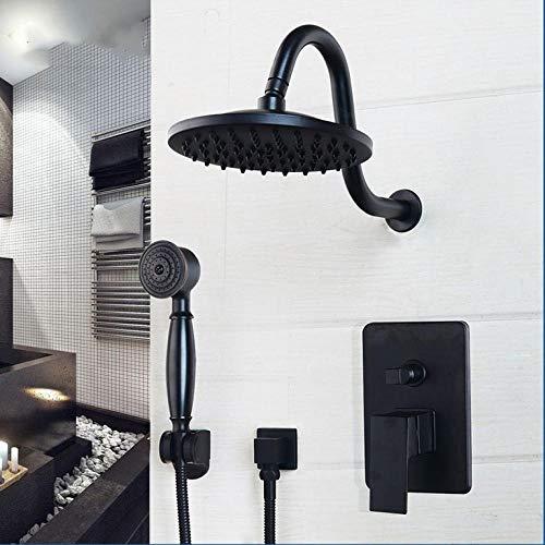 Gnailur Grifo de ducha de lluvia de baño de 8 pulgadas Baño Negro Cabeza redonda Montado en la pared Aceite Montado Frotado Bronce Cabeza y conjuntos de ducha de mano