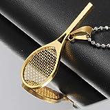Amzdai Collier pour Homme Collier pour Homme avec Pendentif Raquette de Tennis 3 Couleurs en Option Titane Collier en Acier Cadeau de Graduation (Color : Gold)