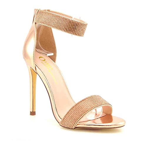 f4da46cf0 Olivia and Jaymes Luxury Sparkly Open Toe High Heel Ankle Strap Rhinestone  Sandals for Women