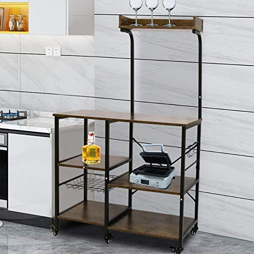 Baker's Rack Kitchen Cart, Microwave Kitchen Shelves Spices Workstation Organizer with Hooks Cabinets and Storage Wire Basket Shelf Coffee Stand for Mini Oven, Pan, Utensils, Vintage Drinks Sideboard