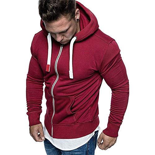 YEBIRAL Herren Basic Sweatjacke Kapuzenjacke Pullover Hoodie Mit Kapuze Reißverschluss Fleece Sweatshirt Kapuzenpullover(XL,Rot)