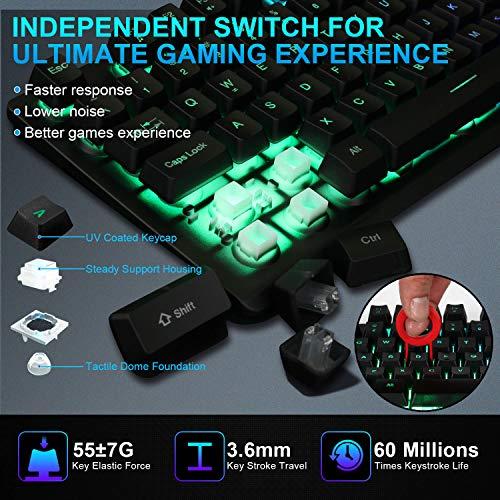 NPET K10 Gaming Keyboard USB Wired Floating Keyboard, Quiet Ergonomic Water-Resistant Mechanical Feeling Keyboard, Ultra-Slim Rainbow LED Backlit Keyboard for Desktop, Computer, PC