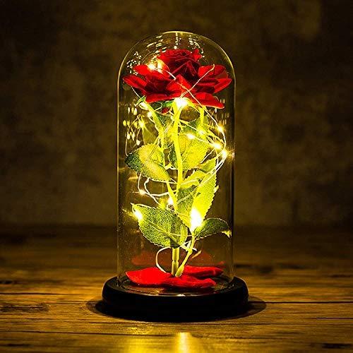 Joyhoop Rosas La Bella y La Bestia, Rosa de Seada Roja, Pétalos Caídos y Luz LED, con Elegante Cúpula de Cristal con Base Pino, para La Decoración del Hogar.(Rosa Bella y Bestia)