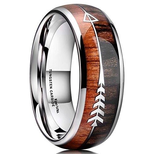 King Will Nature 8mm Men Real Wood Inlay Tungsten Carbide Wedding Ring Dome Style High Polished(10)