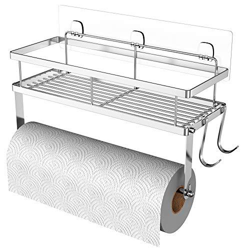 ESOW - Soporte para toallas de papel con almacenamiento de estantes, soporte de pared adhesivo 2 en 1 para cocina y baño, diseño de alambre de metal duradero