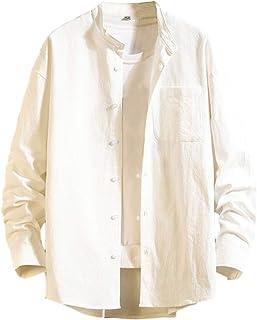 [ラッキーチャーム] バンドカラーシャツ ルーズフィット カジュアル 長袖 メンズ
