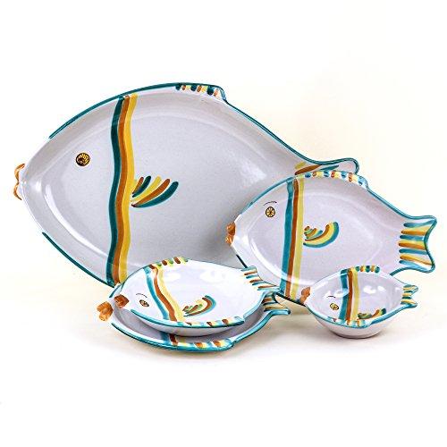 Juego de 6 platos de cerámica artística de Caltagirone de 20 unidades