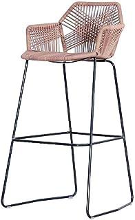 Taburete de Bar Taburete de la Barra de Metal nórdico Hecho a Mano for sillas de ratán Silla de la Barra de heces Desayuno for la Familia/Recepción/Cafetería/Cocina
