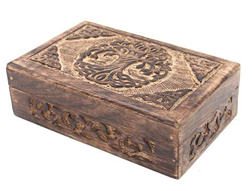 DharmaObjects Hand Carved Jewelry Trinket Keepsake Wooden Storage Box (Celtic Tree Of Life, Large)