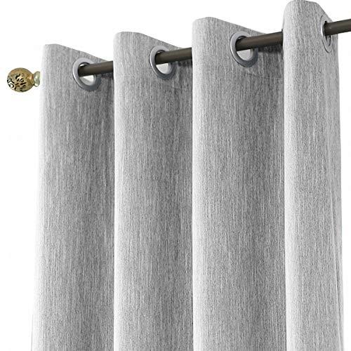 Melodieux Vorhänge Grau Verdunkelung Gardinen Blickdicht Leinenoptik für Wohnzimmer kinderzimmer Schlafzimmer 183x117cm - 1 Stück