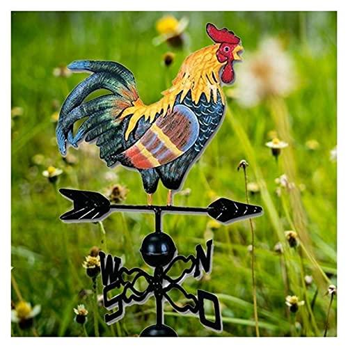 JHWSX Gallo de Metal Veleta Enchufe de Jardín Gallo Pintado Decorado Veleta de Hierro Ornamento de Gallo para Techo Choza Patio Pantalla Dirección del Viento