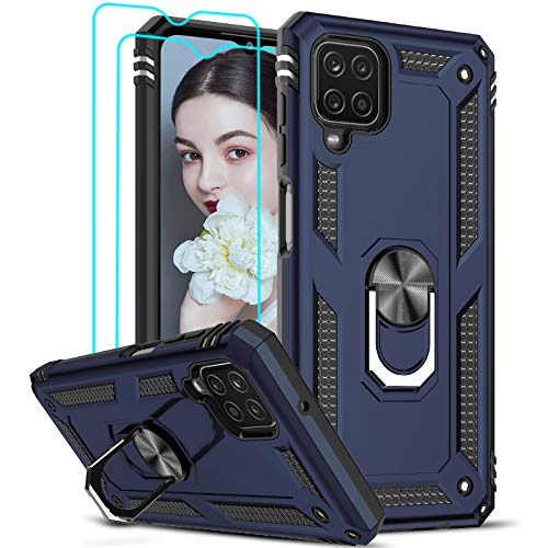 LeYi for Samsung Galaxy A12 Case and 2 Tempered Glass Screen Protector,Ring...