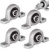 4 Piezas Cojinetes de Bloque de Almohada, Bloque de Almohadilla Rodamientos, 8 mm de Diámetro KP08 Aleación Zinc Bloque Almohada Autoalineable para Piezas de Repuesto de Impresora 3D (Plateado)