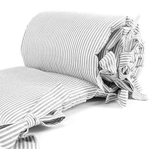 Sugarapple Baby Nestchen Bettumrandung dick gepolstert für Beistellbetten, Kopfschutz und Kantenschutz für babybeistellbetten, Bettnestchen Maße: 170 x 25 cm, Streifen grau