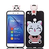 LAXIN Case Compatible with Huawei P8 Lite (2017) Soft TPU Silicone Cute Cat Flexible Cute Animal Protective Back Cover Girly Matte Cover Protective Ultra Thin Slim Bumper ins Shockproof for Kids