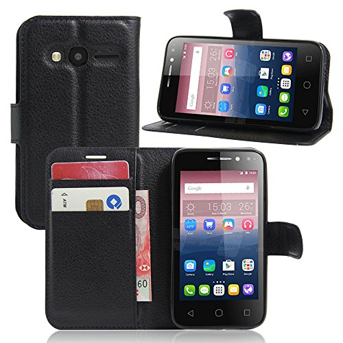Ycloud Tasche für Alcatel Pixi 4 (4.0 Zoll) Hülle, PU Ledertasche Flip Cover Wallet Hülle Handyhülle mit Stand Function Credit Card Slots Bookstyle Purse Design schwarz