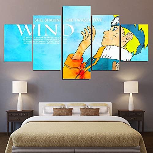 Impresiones en lienzo, 5 carteles animados de Naruto, decoración moderna de la habitación de los niños, pintura mural, arte de pared-B_M:_10X15-2P_10X20-2P_10X25-1P