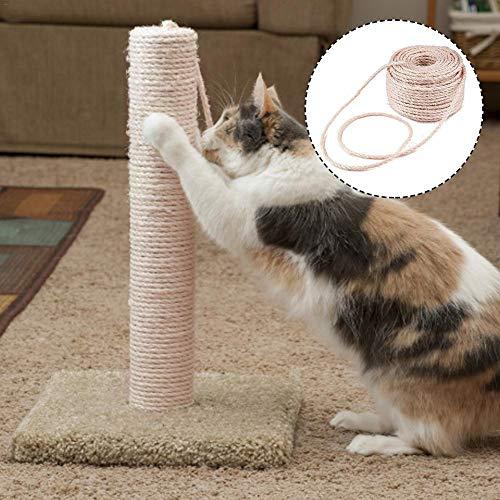 Cuerda de sisal natural cuerda de sisal 6 mm accesorios para el hogar DIY para rascar el reemplazo del árbol del poste, poste rascador del gato, cuerda artesanal, paquete de jardín