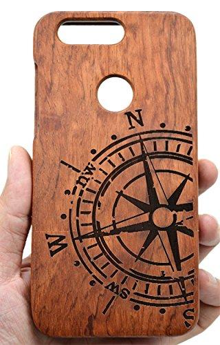 PhantomSky Coque Huawei Honor 8 en Bois Véritable, [Série de Luxe] Fabriqué à la Main en Bois/Bambou Naturel Housse/Étui pour Votre Smartphone - Compas Palissandre(Rosewood Compass)