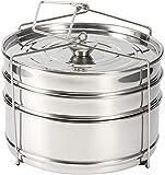 Pote de vaporizador con asa plegable, apilable 3 niveles de acero inoxidable de acero inoxidable olla de olla de cocción cocinero alimento a presión accesorios de olla, para cocinar alimentos