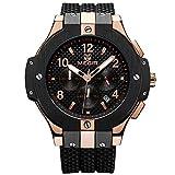 MEGIR Herren Uhren Rose Gold Big Bang Chronograph mit Schwarz Silikon-Armband Wasserdicht XL Uhr für Männer