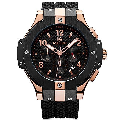 Reloj de pulsera para hombre, de cuarzo, correa de silicona, impermeable, color oro rosa