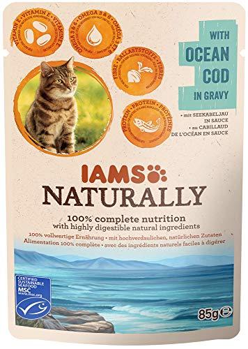 Iams Naturally Kabeljau, Nassfutter mit Kabeljau für erwachsene Katzen, Probiergröße (1 x 85 g)