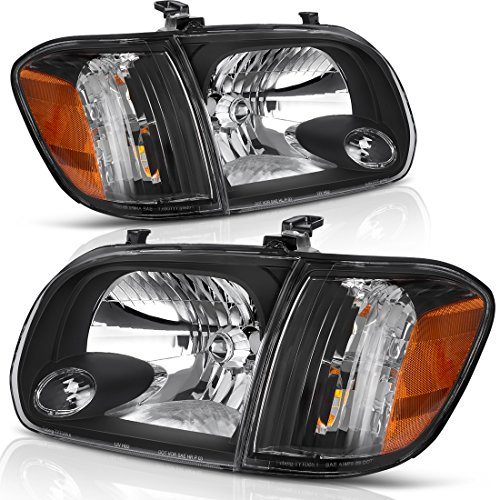 AUTOSAVER88 Headlight Assembly Compatible with 2005-2006 Toyota Tundra Double/Crew Cab, 2005-2007 Sequoia, Black Housing Clear Lens (Not suitable for Regular Cab and Assess Cab)