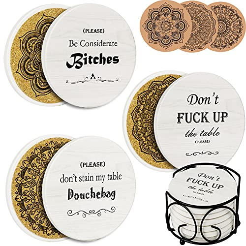 AerWo Coasters for Drinks 6Pcs Funny Coasters Absorbent with Holder, Housewarming Gifts New Home...