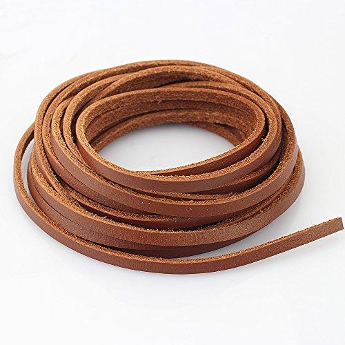 LolliBeads Cuerda de cuero auténtico resistente de 4 mm para hacer joyas, manualidades, varios colores marrón claro, 5 metros (5 yardas)