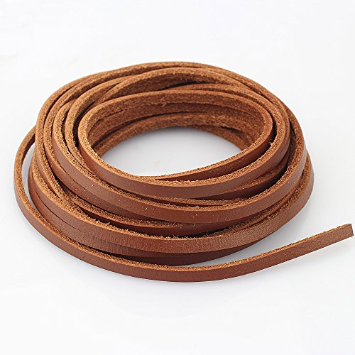 LolliBeads Heavy Duty Strong 4 mm Genuine Leather Cord Braiding String for Jewelry Making Craft DIY Assorted Color Light Brown 5 Meters (5+ Yards)