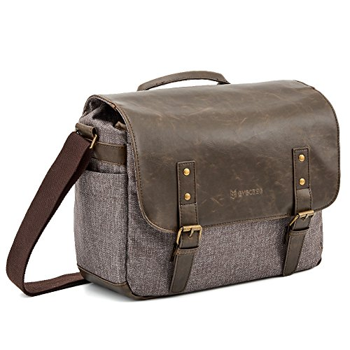Borsa Fotografica, Evecase PU Custodia Design Vintage per Fotocamera Messenger Bag per Canon Nikon Sony Fujifilm Olympus Panasonic - Marrone