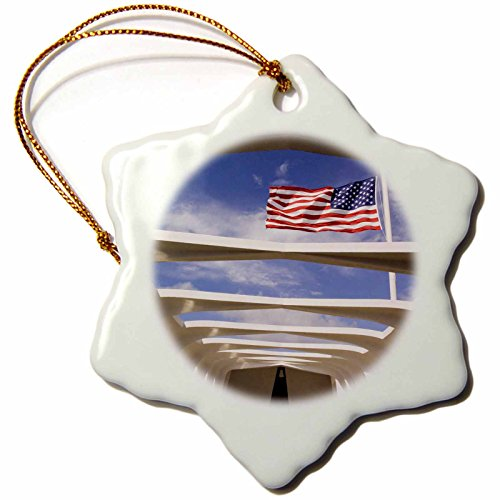 3dRose orn_89506_1 Hawaii, Oahu Flag, USS Arizona National Memorial US12 BJA0014 Jayne's Gallery Snowflake Porcelain Ornament, 3-Inch