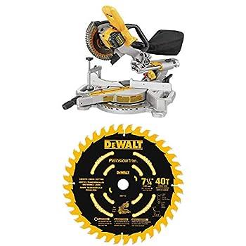 DEWALT DCS361B 20V Max Cordless Miter Saw  Tool Only  with DEWALT DW7114PT DEWALT DW7114PT 40T Precision Trim Miter Saw Blade 7-1/4