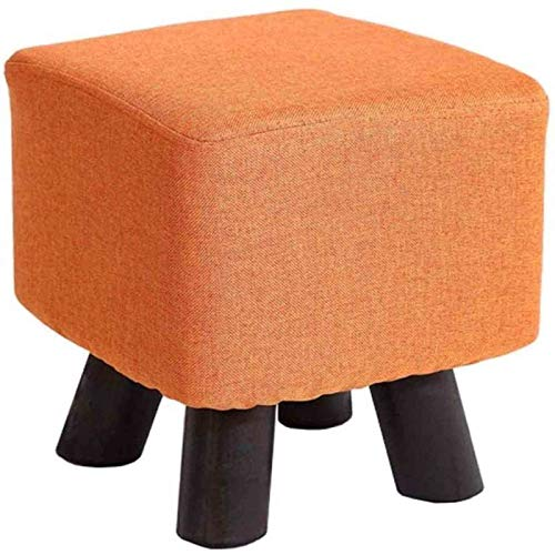 MGEE MFE-Hocker-Sitz, Fußstütze Hocker Aus Holz, Quadratischer Leinengewebe Gepolsterter Sitz Mit Holzbeinen, Abnehmbarer Abdeckung - Wohnzimmer, Schlafzimmer, Kinderzimmer Dekorativ(Color:Orange)