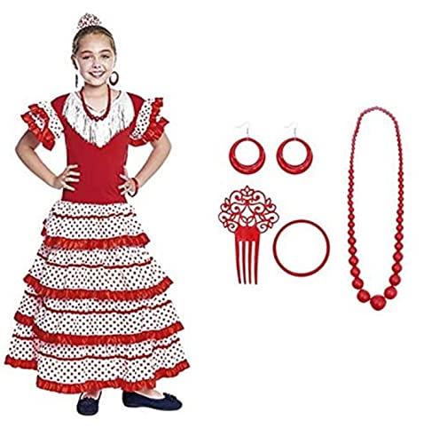 Vestido Sevillanas Niña con Accesorios Flamenca Peineta Collar Pulsera Pendientes【Tallas Infantiles de 1 a 15 años】Disfraz Sevillana Traje Flamenca Niñas Feria Abril Sevilla Actuaciones Baile