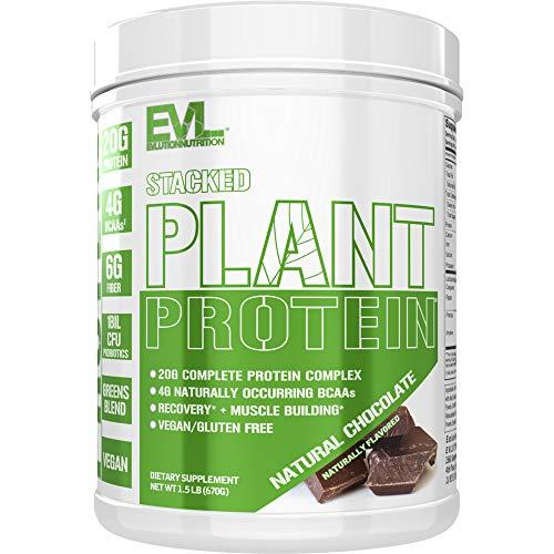Pflanzliches Proteinpulver, vegan, ohne Gentechnik, glutenfrei, Probiotika, BCAAs, Ballaststoffe, vollständig pflanzlicher Proteinkomplex, 680g Behälter (natürliche Schokolade)