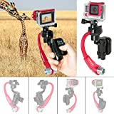 Action Camera 3-Axis Inertia Gyro Stabilizer w/Remote Control Holder Clip Compatible with GoPro Grip Handle GoPro Stabilizer GoPro Gimbal for GoPro Hero 6 5 4 3 / Session / 3+/3-Red