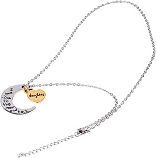Bagvhandbagro Heart Pendant Necklace Daughter Jewelry, I Love You to The Moon and Back, Best Birthday Christmas Valentines Day Gifts for Daughters Girls from Mom and Dad (Moon)