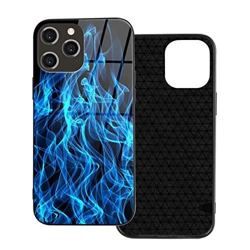 Funda para teléfono Funda para teléfono Blue Flame Fire para iPhone 12/12 Mini / 12 Pro / 12 Pro MAX Funda Trasera de Vidrio Templado + TPU para iPhone 12-6.1 Pulgadas