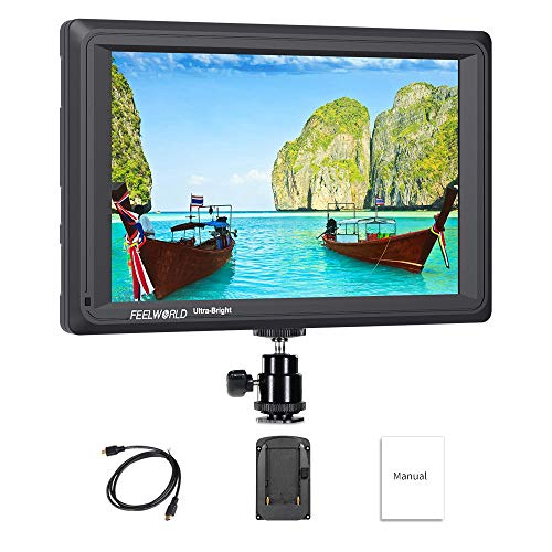 Feelworld FW279 7 Pollici Ultra Luminoso On Camera DSLR Field Monitor Full HD Focus Video Assist 1920x1200 IPS con 4K HDMI Input Output 2200nit Alta Luminosità