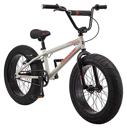 Mongoose Argus MX Kids Fat Tire Mountain Bike, 20-Inch Wheels, Single Speed, 4.25-Inch Wide Tires, Tan