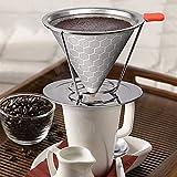 Gaddrt - Filtro de café de acero inoxidable 304 con soporte extraíble para taza