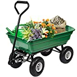 BestMassage Garden Cart Utility Yard Dump Cart Wagon Carrier Wheelbarrow 4 Air Tires with Poly Pulling Wagon 10' Pneumatic Tires,Heavy Duty Steel Frame