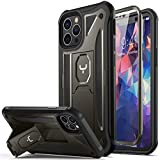 YOUMAKER Designed for iPhone 12 Case & iPhone 12 Pro Case, Heavy Duty Protection Kickstand with Built-in Screen Protector Shockproof Cover for iPhone 12/12 Pro Case 6.1 Inch-Gunmetal