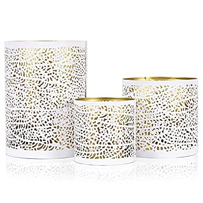 Set of 3 White and Gold Metal Decorative Hurricane Candle Holders. Elegant Lantern Style Centerpiece. Home décor Room Accents