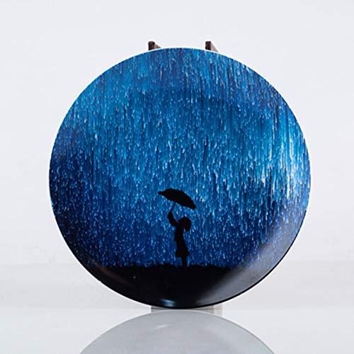 KANJJ-YU Pequeño cerámica Home Plate nórdica Estilo Occidental Plato de Placas Ajustado Ins Neto roja de la Foto de la Placa del Cielo Estrellado de la Torta Plato Postre púrpura 20cm Cocina