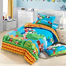 hjfigurine Queen Size Super Mario Kid Bedding Kids 3 Pieces Duvet Cover Set