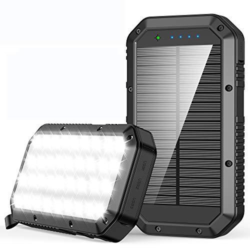 Batería Externa 25000mAh, Cargador Solar Carga Rápida Power Bank con 3 Salidas USB de Teléfono Celular, Power Bank movil Linterna 36 LED Cargador Solar Portatil para Android iOS y Viajes Campamento